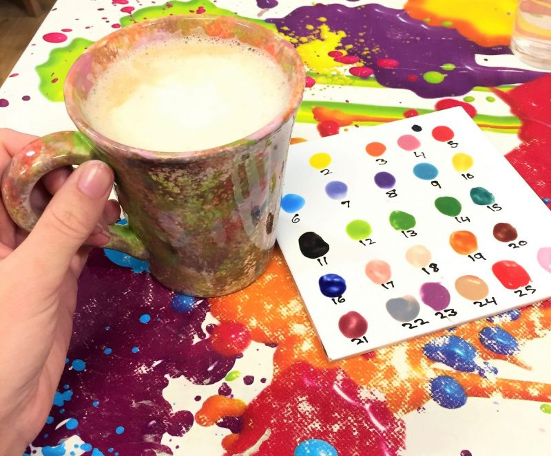 Coffee and Painting. Gingerbread Latte. Christmas traditions.
