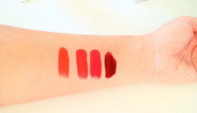 Red Shades. Red Lipstick Collection. Christmas Red Lips.