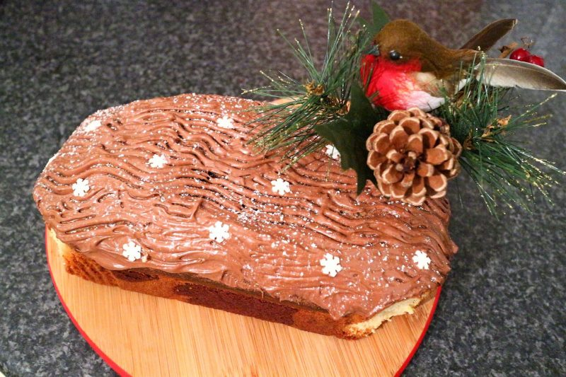 Christmas Log Cake. Loaf cake made to a log. Christmas Baking.