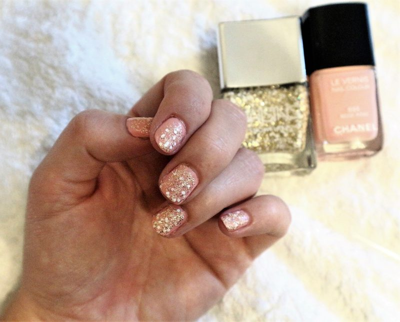 Nail colour. Pink and Gold Sparkle. Nail Varnish Ideas. UK Blogger.